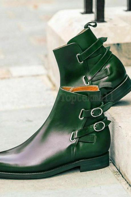 Handmade Men's Leather Green Burnished Toe High Ankle Rounded Double Boots-576