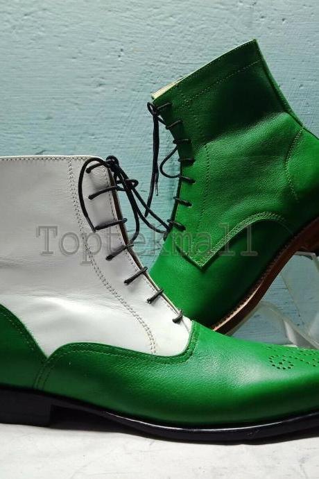Handmade Men's Leather White Green Two Tone Rounded Toe High Ankle Boots-584
