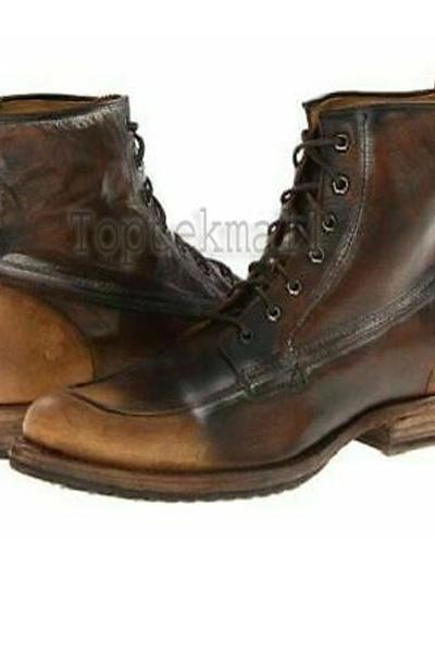 Handmade Men's Leather Brown Distressed Lace Up Military High Ankle Boots-591