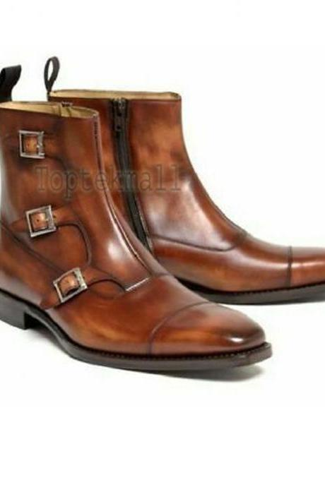 Handmade Men's Leather Brown Leather Triple Monk Cap Tow Side Zipper Boots-599