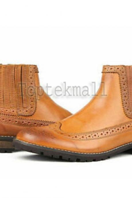 Handmade Men's Leather Chelsea OXFORD TAN Oxford Brogue Dress Stylish Boots-603