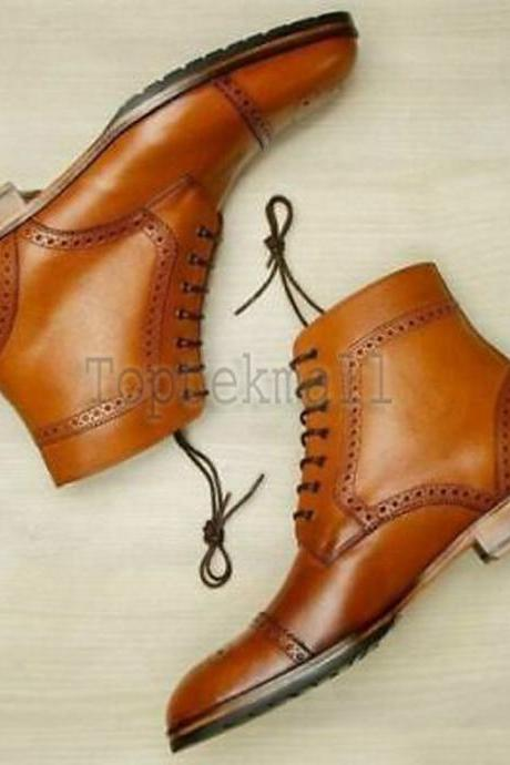 Handmade Men's Leather Tan Brogue Dress Ankle High Formal Casual Wear Boots-615