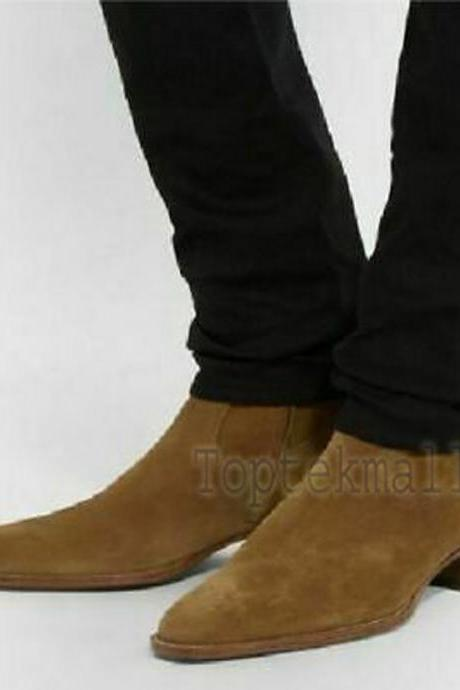 Handmade Men's Leather Tan Fringed Ankle High Suede Formal Casual Boots-618