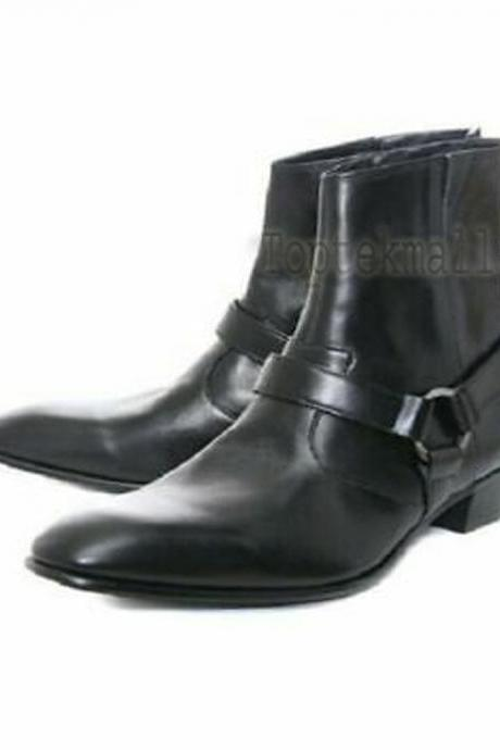 Handmade Men's Leather Ankle High Black Side Zipper Formal Casual Boots-619