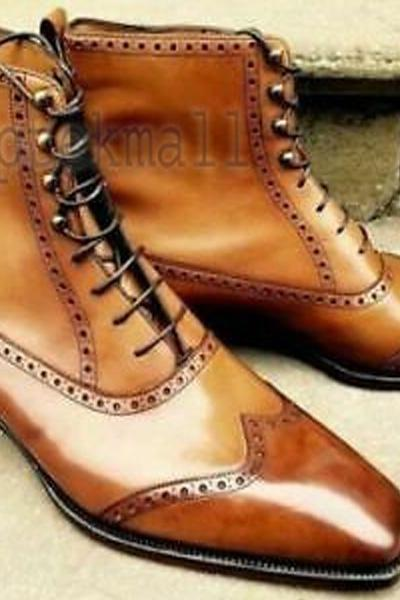 Handmade Men's Leather Tan Lace Up Formal Wear Casual Ankle High Dress Boots-621