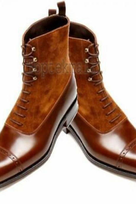 Handmade Men's Leather Tan Ankle Two Tone Cap Toe High Ankle Stylish Boots-624