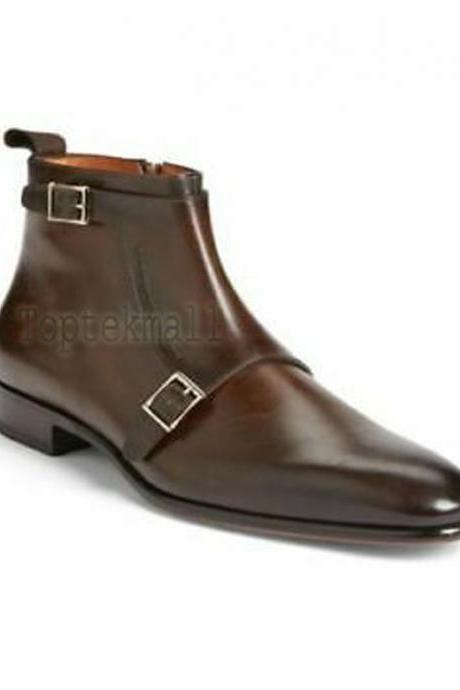 Handmade Men's Leather Brown Dress Double Monk Zipper Formal Casual Boots-630