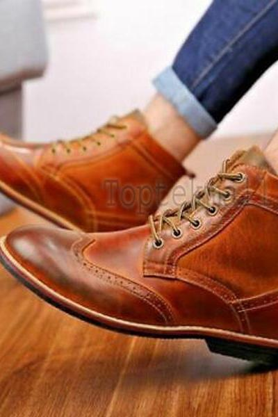 Handmade Men's Leather TAN ANKLE WINGTIP MARCHING MILITARY Stylish Boots-637