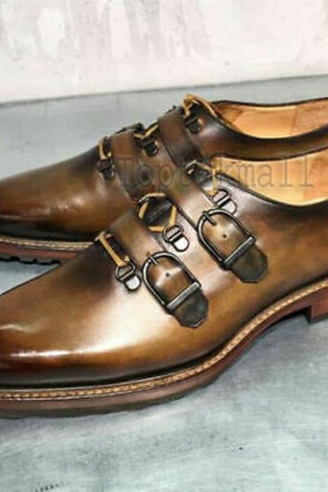 Handmade Men's Leather Brown Shaded Double Monk Straps Dress Stylish Shoes-638