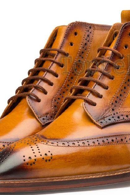 Handmade Men's Leather Tan Burnished Brogue Lace Up Oxford High Ankle Boots-669