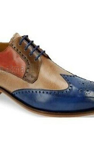 Handmade Men's Leather Oxford Brogues Toe Stylish Vintage Wing Tip Shoes-674