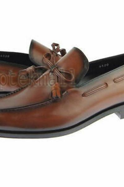 Handmade Men's Leather Genuine Brown Color Premium Moccasin Loafer Shoes-682