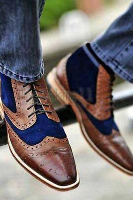 Handmade Men's Leather Unique Style Brown & Blue Real Oxfords Super Boots-715