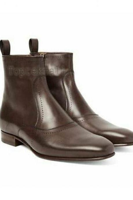 Handmade Men's Leather BROWN PURE LEATHER ZIP UP CUSTOM MADE BOOTS-719