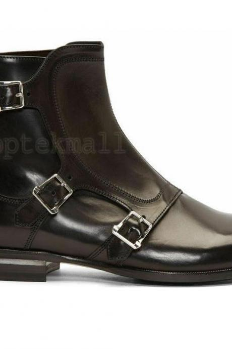 Handmade Men's Leather DOUBLE SOLE BLACK ANKLE HIGH Fashion Dress BOOTS-720