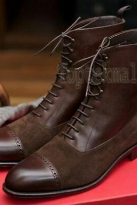 Handmade Men's Leather BROWN SUEDE LACES UP Stylish Formal Dress New BOOTS-722