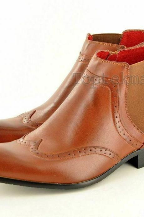Handmade Men's Leather WINGTIP CHELSEA Dress BROGUE Fashion New FORMAL BOOTS-723