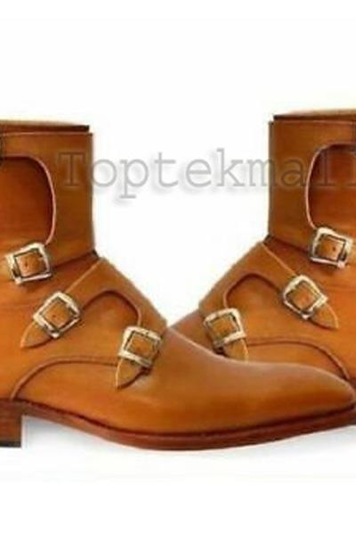 Handmade Men's Leather Tan Brown Tetra Monk Straps Half Long Dress Boots-725