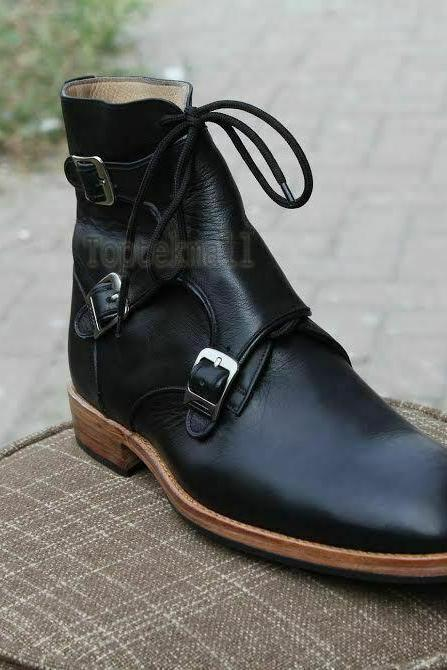 Handmade Men's Leather Dress Fashion Triple Monk Straps Stylish Casual Boots-727