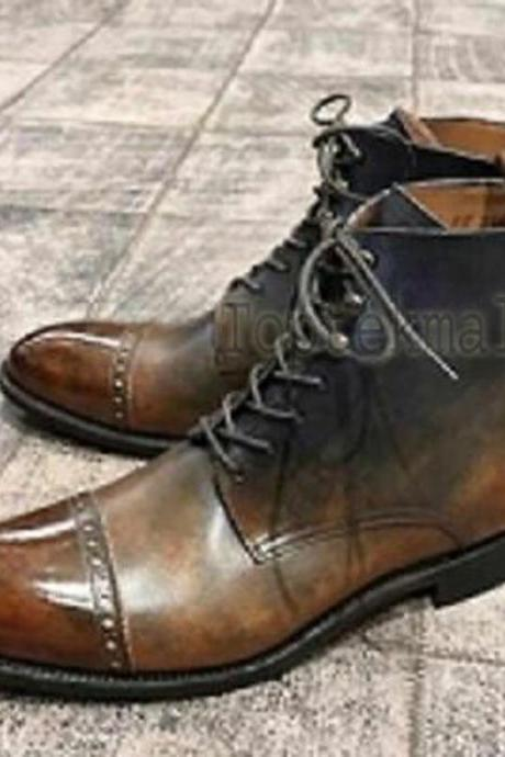 Handmade Men's Leather Tan Patina Ankle High Boots Formal Men Custom Boots-741