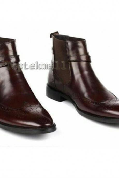 Handmade Men's Leather Brown Super Dress Stylish Brogue Top Quality Boots-770