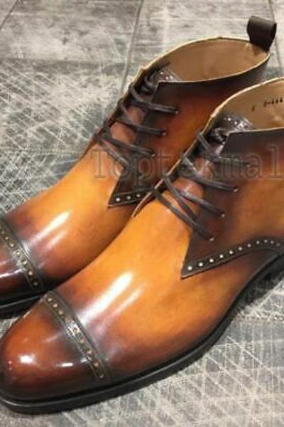 Handmade Men's Leather Tan Jodhpur Boots Formal dress Custom made Shoes-771