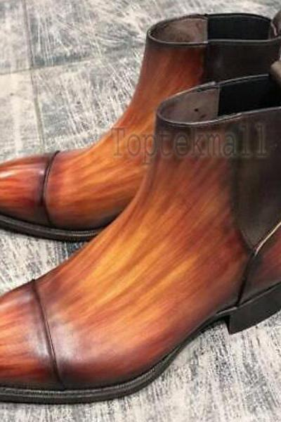 Handmade Men's Leather Tan Patina Chelsea Boots Formal Shoes Custom Boots-774
