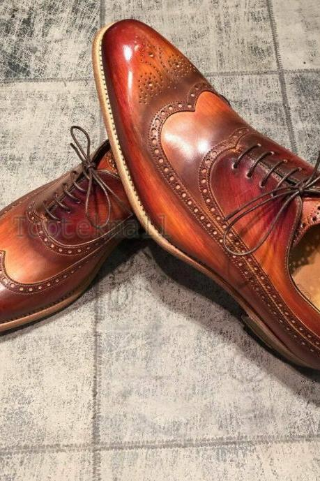 Handmade Men's Leather Oxfords Two Tone Brown Burnished Lace up Formal Shoes-853