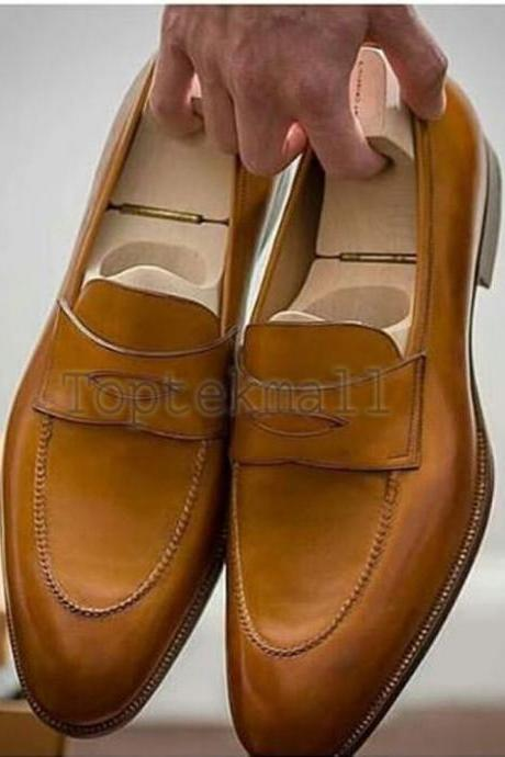 Handmade Men's Leather New Dress Formal Casual Office Loafer Slip On Shoes-886