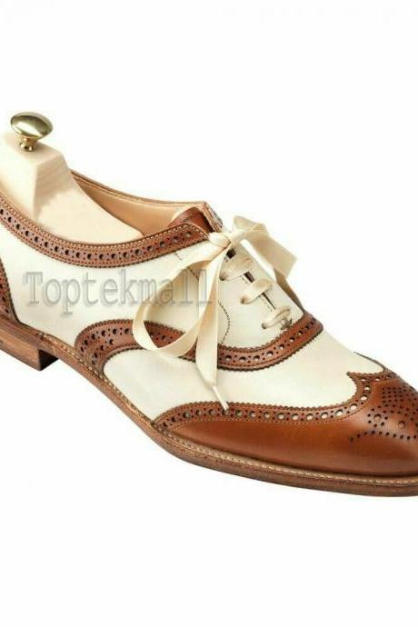 Handmade Women's Leather Two Tone Oxford Wingtip Lace-Up Ribbon Shoes-906