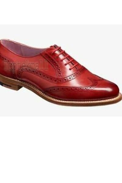Handmade Women's Leather & Suede And Fabric Oxford Brogue Wingtip Shoes-910