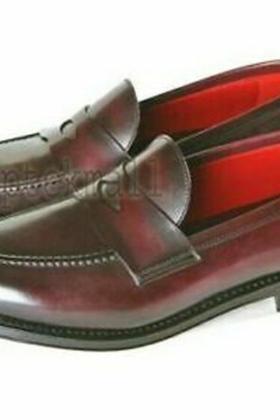 Handmade Men's Leather Ox Blood stylish Loafers and slip ons New Shoes-893