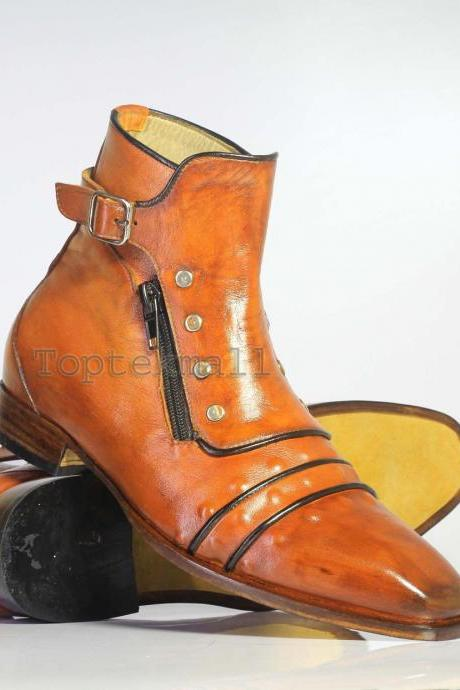 Handmade Men's Leather Tan Cap Toe Buckle Zipper Ankle High Formal Boots-920