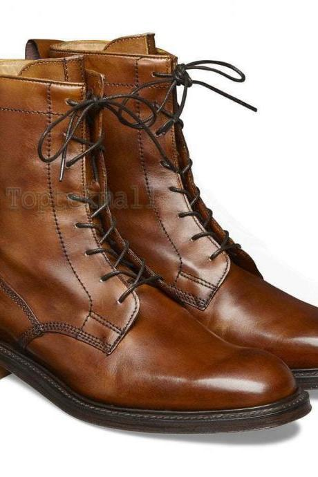 Handmade Men's Leather Genuine Brown Lace Up Marching Oxford Toe Cap Boots-922