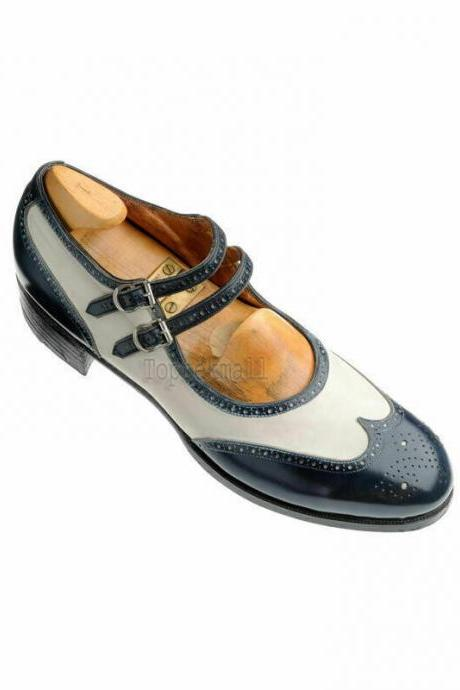 Handmade Women's Leather Two Tone Oxford Two Strap Buckle Wingtip Shoes-923
