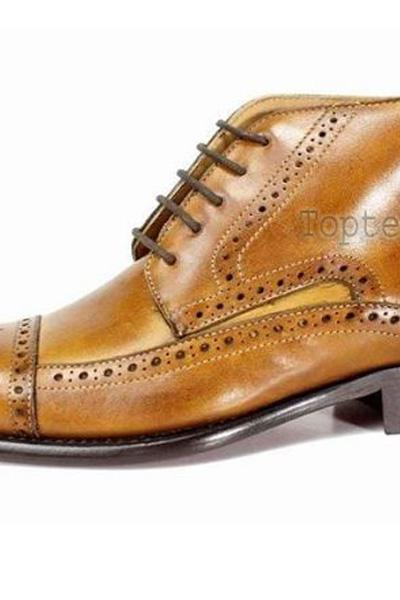 Handmade Men's Leather Two Tone brown Tan lace up Ankle High Formal Boots-925