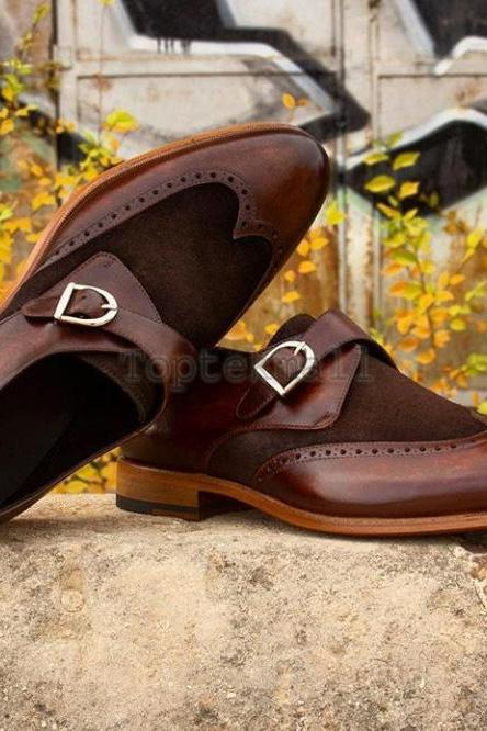 Handmade Men's Leather Formal Dress Premium Brown Color Monk Buckle Shoes-935