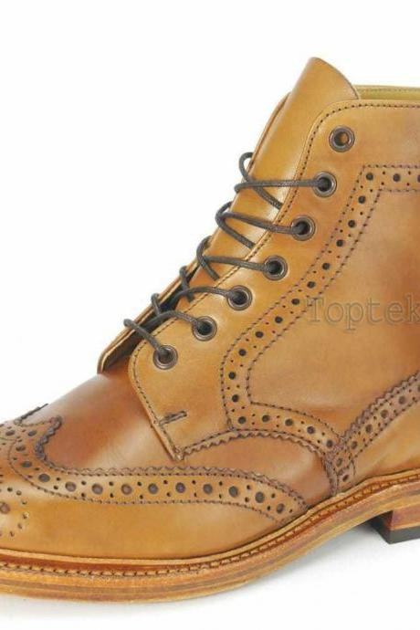 Handmade Men's Leather Tan Formal Derby Brogue Ankle Cognac Wingtip Boots-940