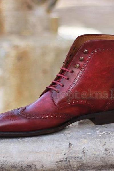 Handmade Men's Leather Rounded Toe Maroon Wingtip High Ankle Lace Up Boots-953
