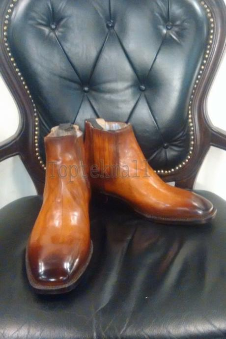 Handmade Men's Leather New Stylish Cognac Patina Ankle High Chelsea Boots-979