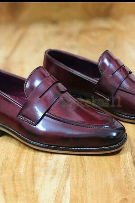 Handmade Men's Leather Moccasins Burgundy Loafers and Slip Ons Stylish shoes-438